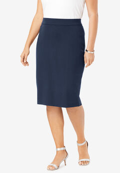 Ultimate Ponte Pencil Skirt, NAVY