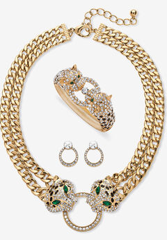 Gold Tone Leopard Collar Necklace, Earring and Bracelet Set,
