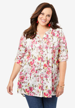 High-Low Pintuck Tunic, PINK WATERCOLOR BOUQUET