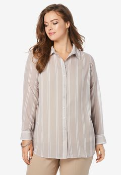 Georgette Big Shirt, KHAKI DOUBLE STRIPE