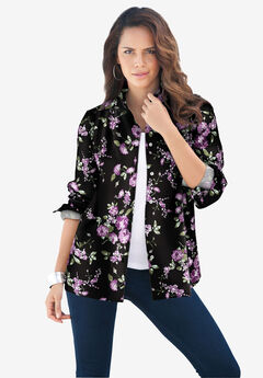 Long-Sleeve Kate Big Shirt, PURPLE ROSE FLORAL