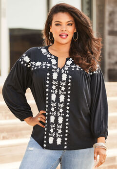 Embroidered Blouson Top, BLACK