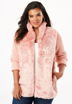 Ribbed Cardigan with Faux Fur Front, ROSE HAZE
