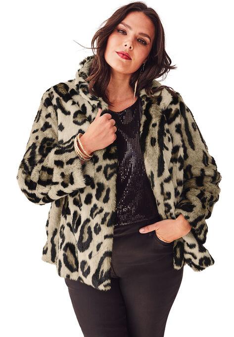 7788b40c1bf Short Leopard Faux-Fur Coat by Donna Salyers Fabulous Furs
