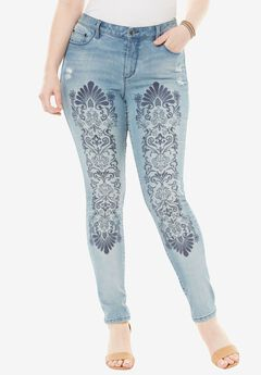 Embroidered Skinny Jean by Denim 24/7®, SUN BLEACHED, hi-res