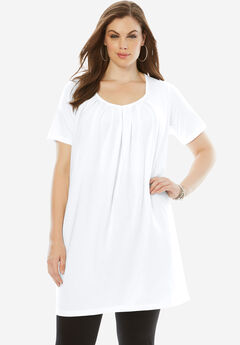 Pleat Neck Maxi Tunic,