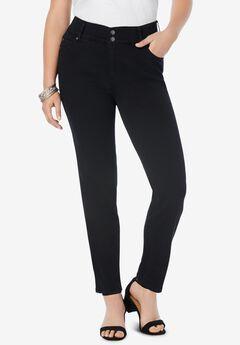 The Straight-Leg Curvy Jean by Denim 24/7®, BLACK