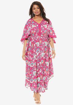Tassel Kimono Dress, RASPBERRY FLORAL PRINT, hi-res