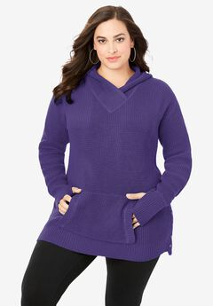 Thermal Hoodie Sweater, MIDNIGHT VIOLET