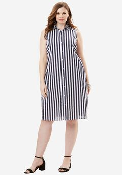 The Sleeveless Kate Dress, NAVY STRIPE PRINT, hi-res