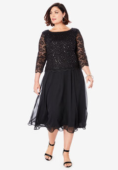 Embellished Lace & Chiffon Dress, BLACK