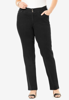 The Straight-Leg Curvy Jean by Denim 24/7®, BLACK