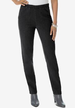 Straight-Leg Pull-On Stretch Jean by Denim 24/7®, BLACK DENIM