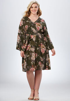 Bell-Sleeve Wrap Dress in Crinkle, OLIVE CHERRY BLOSSOM, hi-res