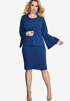 Bell Sleeve Jacket Dress, EVENING BLUE, hi-res