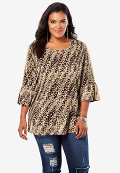 Bell-Sleeve Ultimate Tee, NATURAL TEXTURED ANIMAL