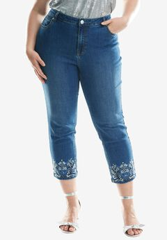 Embroidered Hem Jean by Denim 24/7®, INDIGO WASH, hi-res