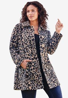 Plush Fleece Jacket, KHAKI GRAPHIC SPOTS
