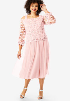 Lace Overlay Dress with Blouson Sleeves,