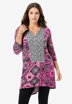 Notch-Neck Drape Tunic,