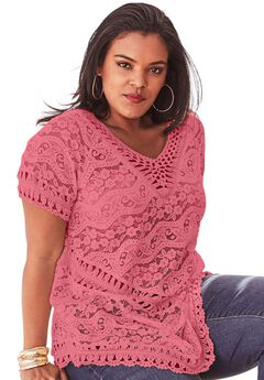 Lace and Crochet Sweater, BEGONIA