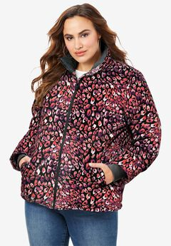 Short Puffer Jacket, BERRY WATERCOLOR ANIMAL