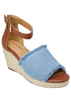 Journee Sandals by Comfortview®, DENIM, hi-res