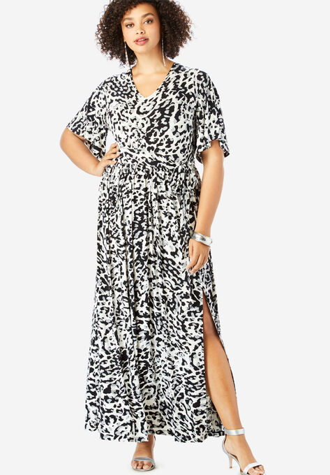 74ad731589ff8 Belted Maxi Dress with Flutter Sleeves| Plus Size Maxi Dresses ...
