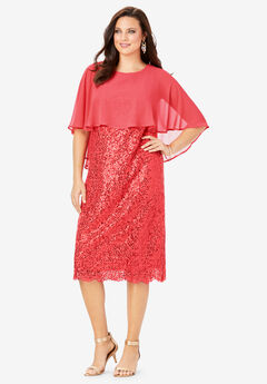 Lace Dress with Capelet,