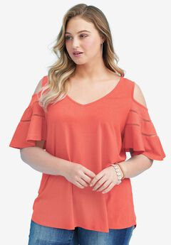 Ruffle-Sleeve Top with Cold Shoulder Detail, DUSTY CORAL, hi-res