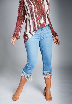 Fringed Hem Jeans by Denim 24/7, LIGHT STONEWASH, hi-res