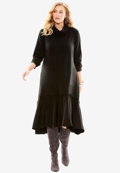 Trapeze Sweater Dress, BLACK, hi-res