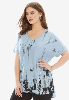 Textured Slub Tunic, BLUE CLOUD PRINT, hi-res