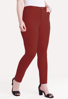 Ultimate Ponte 5-Pocket Pant, DARK CHERRY