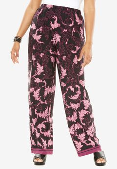 Wide Leg Pants, LEAF PRINT, hi-res