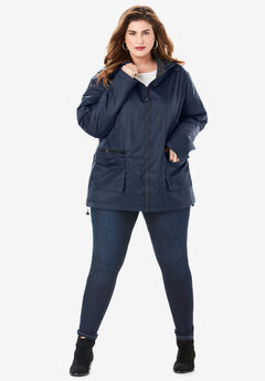 Hooded Nylon Jacket with Fleece Lining,