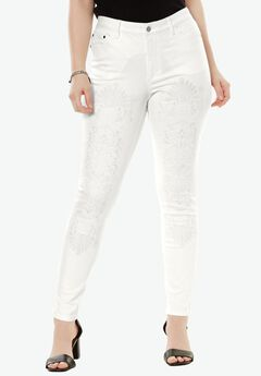 Embroidered Skinny Jean by Denim 24/7®, WHITE, hi-res