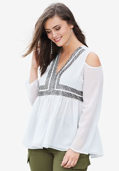 Cold-Shoulder Beaded Top, IVORY, hi-res
