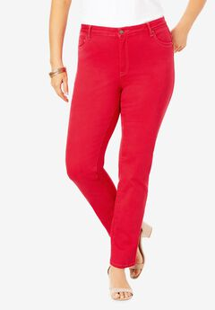 Straight-Leg Jean with Invisible Stretch® by Denim 24/7®, VIVID RED