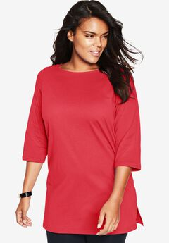 The Boat Neck Maxi Tunic, CORAL RED, hi-res