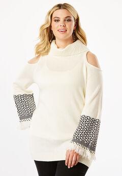 Cold Shoulder Turtleneck Sweater with Fringe,