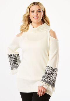 Cold Shoulder Turtleneck Sweater with Fringe,
