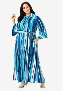 Maxi Shirtdress, TEAL GRAPHIC STRIPE