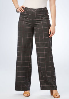 Bend Over® Wide-Leg Pant, PLUM WINDOWPANE PLAID