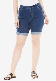Cuff Denim Shorts with Invisible Stretch® Waistband by Denim 24/7®, MEDIUM STONEWASH, hi-res