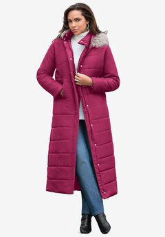 Maxi-Length Quilted Parka with Hood, BERRY TWIST