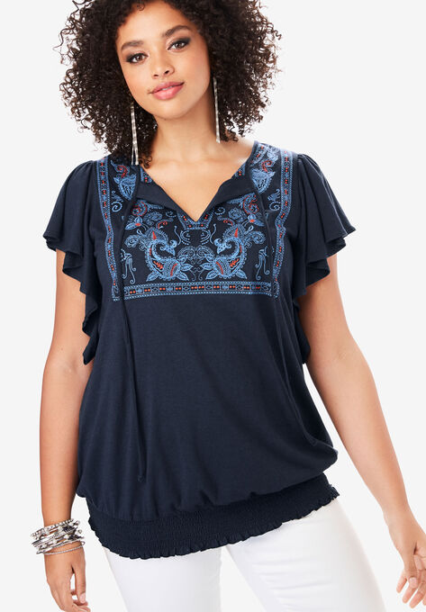 Embroidered Flutter-Sleeve Tee