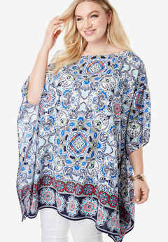Printed Boatneck Caftan, MIRRORED FLORAL MEDALLION