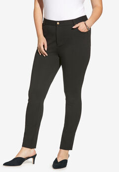 Skinny 5-Pocket Ultimate Ponte Pant, BLACK