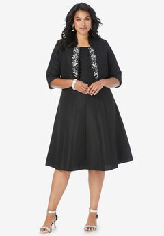 Embellished Fit-and-Flare Jacket Dress, BLACK